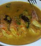 """Recipe by Giannis Marnas for """"Psarakia kai Thalassina"""" Shrimp in Saffron & Ouzo Sauce (serves 4)"""